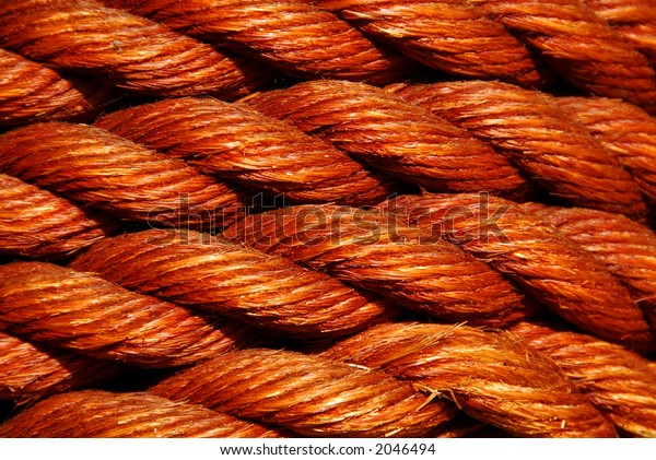 Close-up of a maritime neatly coiled rope