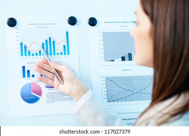 Close-up of marketing analysis presented by female