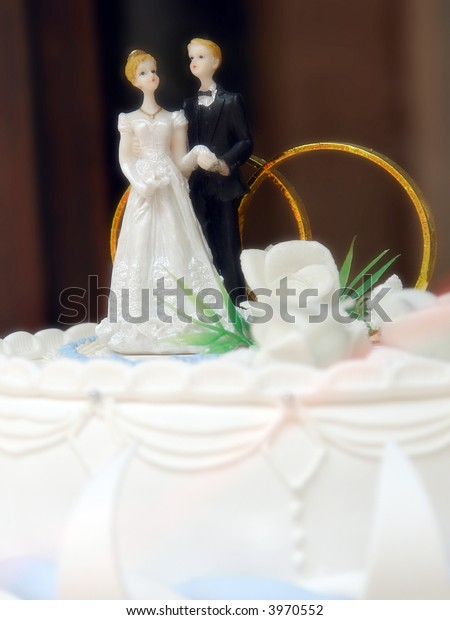 Closeup Marzipan Wedding Cake Bride Groom Stock Photo Edit Now 3970552