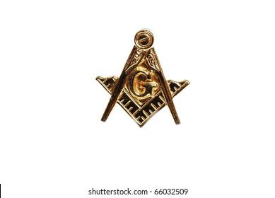 Closeup of Masonic Emblem Lapel Pin isolated on white.