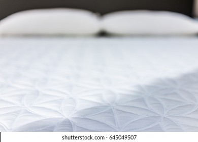 Closeup of mattress on display in store
