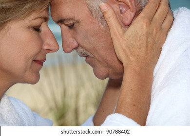 Closeup of a mature couple in love