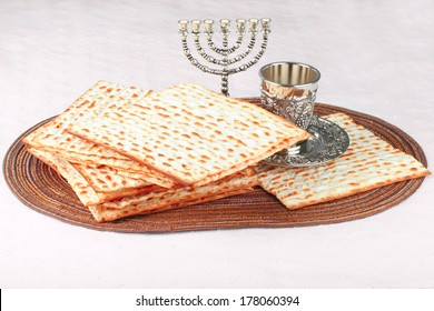 Closeup of Matzah - the unleavened bread served at Jewish Passover dinners.