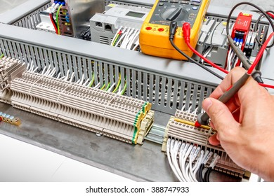 Closeup of measurement connectivity at terminal of Electrical control panel,measure resistance, voltage ,current ,control box