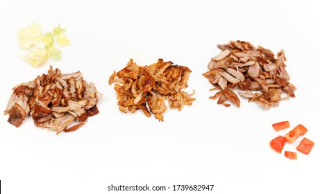 Close-up meat, cook shawarma. Production and sale shawarma.
