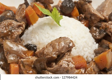 Close-up of meat stew (pork or beef) with rice