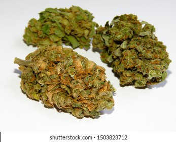 Closeup of medical cannabis bud. Lemon haze. Marijuana bud on white background.