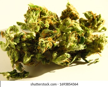 Closeup of medical cannabis buds. Marijuana buds isolated on white background.