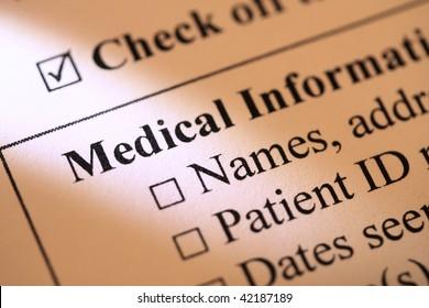 Closeup of medical record form
