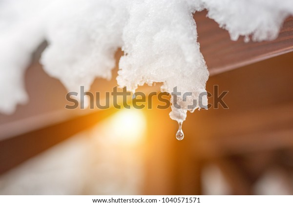 Close-up of melting snow icicles on roof. Falling water drops. Beginning of spring. Meeting cold and heat concept. Fresh spring nature background