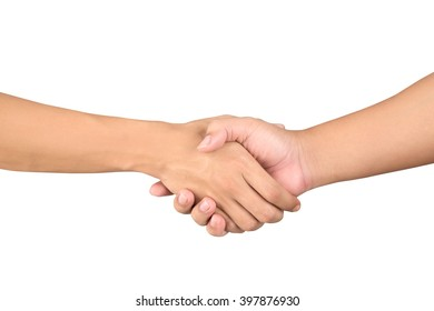 closeup men's handshaking on white background