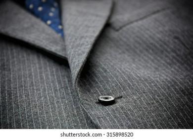 Close-up of men's woolen suit.