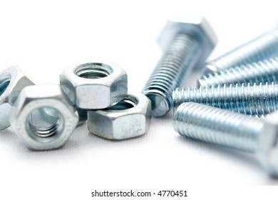 close-up of metal bolts and nuts