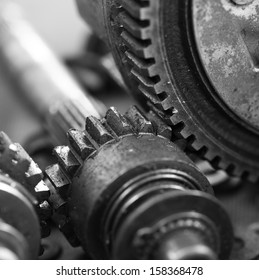 Closeup of metal  gears