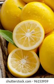 Closeup of Meyer Lemons Freshly Picked Off Tree, a Variety Crossed Between a Mandarin or an Orange and a Regular Lemon, Making for a Sweeter Lemon