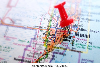 Closeup of Miami map with red push pin