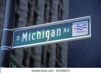 Close-up of Michigan Avenue sign