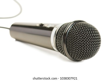 Close-up Of Microphone Isolated Over White Background