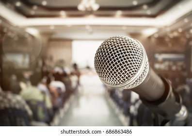 close-up microphone for speech and teaching  at meeting room, conference hall in school, business and education concept