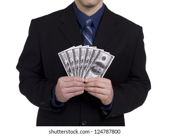 Close-up mid section of a businessman holding a fan of US dollar