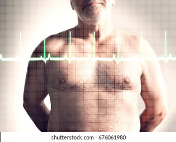 Closeup midsection of a mature shirtless man in front of heartbeat graph