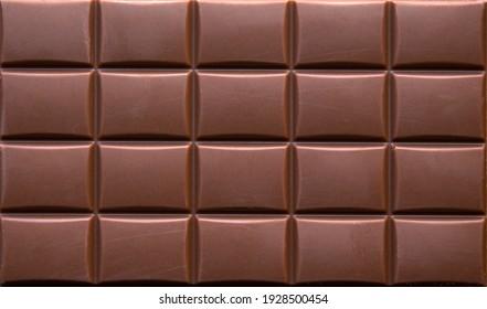 close-up of milk chocolate bar. top view