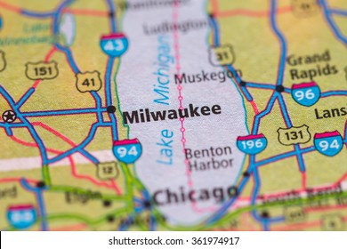 Closeup of Milwaukee on a geographical map.