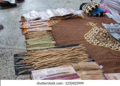 Closeup of Miswak  at market in Mecca. Wooden sticks for cleaning teeth, Miswak. The root of El Salvador Persian. A natural dentifrice.