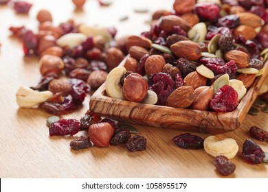 Close-up mix different of nuts and dried fruits. Organic healthy mix snacks. Variety almond, hazelnuts, cashew, raisin, dried cranberries and pumpkin seeds.