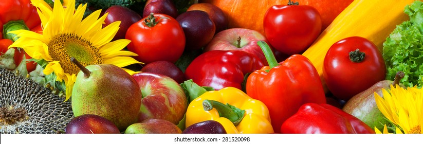 Close-up of mixed fresh ripe fruits and vegetables