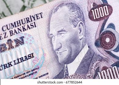 Close-up mixed liras banknotes old turkish lira around 1970's