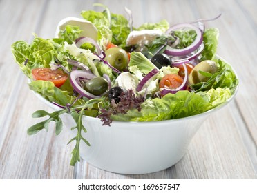 closeup of mixed vegetable salad
