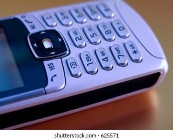 Close-up of mobile or celluar phone on neutral background