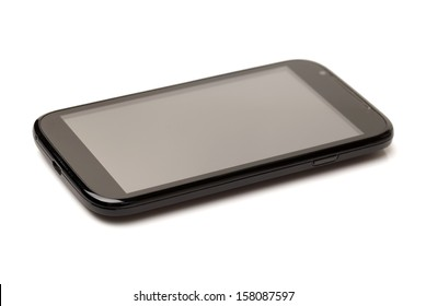 Close-up of a mobile phone on white background