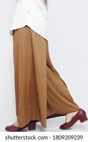 Closeup of moccha skirt with isolated white background. catalogs to sell in online fashion stores