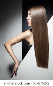 Close-up of model with perfect shining long hair