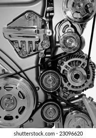 Closeup of a modern car engine