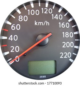 A closeup of a modern car speedometer isolated