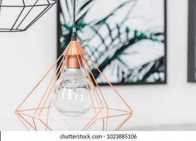 Close-up of a modern, copper lamp with bulb and poster in the background