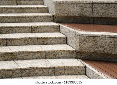 Closeup Of Modern Designed Outdoor Granite Stairs After Raining. The  Beautiful Background And Template.