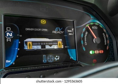 Close-up of a modern electric bus digital instrument panel