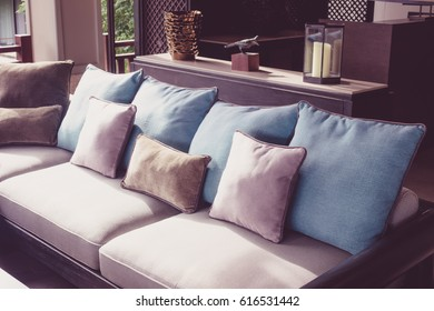 Closeup of modern furniture with pillows ( Filtered image processed vintage effect. )