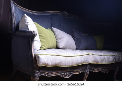 Closeup of modern furniture with two pillows
