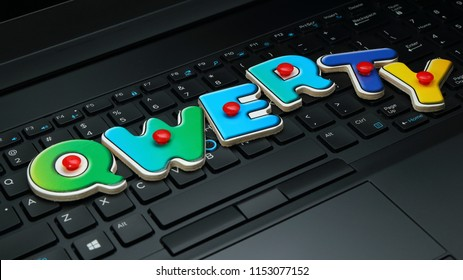 "Close-up of a modern laptop keyboard and colorful letters spelling out ""qwerty"""