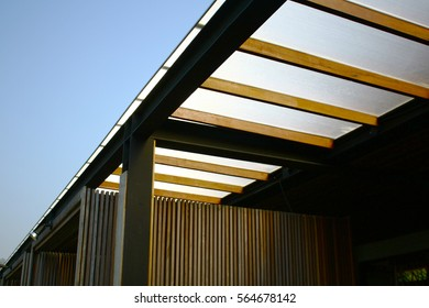 Close-up modern metal and wood flat roof