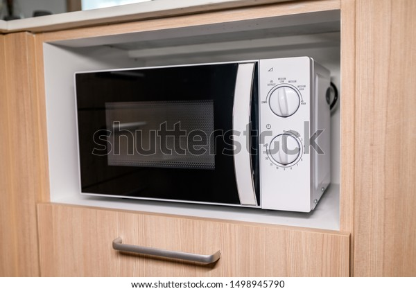 Closeup Modern Microwave Oven Stands On Stock Photo (Edit ...