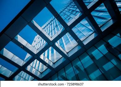 Nahaufnahme von modernen Bürogebäuden in der Stadt China.