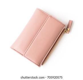 Closeup modern pink woman wallet on white background