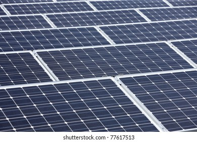 closeup of modern solar panels