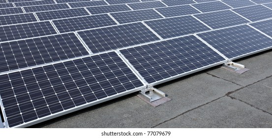closeup of modern solar panels on roof